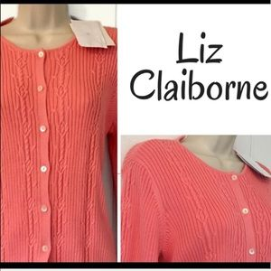 Liz Claiborne Coral Peach Cable Cardigan Sweater